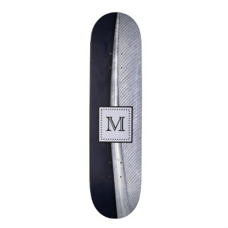 Sophisticated Navy and Silver Feather Monogram Skate Decks