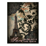 Sophisticated Paris Lace vintage save the date Post Card