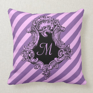 Sophisticated Pink Stripe and Initial Throw Pillow