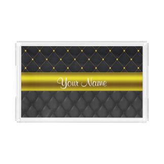 Sophisticated Quilted Black and Gold Acrylic Tray