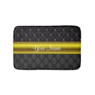Sophisticated Quilted Black and Gold Bath Mat