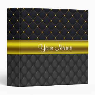 Sophisticated Quilted Black and Gold Binders