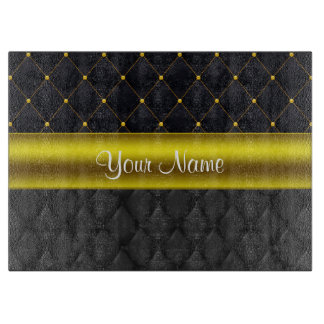 Sophisticated Quilted Black and Gold Cutting Board