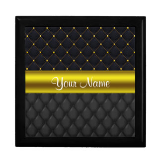 Sophisticated Quilted Black and Gold Gift Box