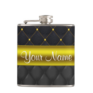 Sophisticated Quilted Black and Gold Hip Flask
