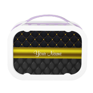 Sophisticated Quilted Black and Gold Lunch Boxes