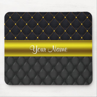 Sophisticated Quilted Black and Gold Mouse Pad
