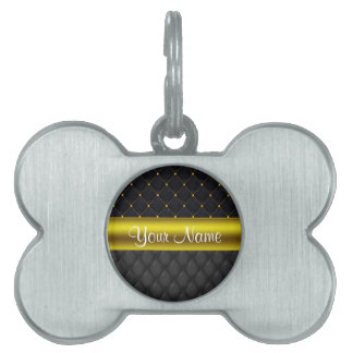 Sophisticated Quilted Black and Gold Pet ID Tag