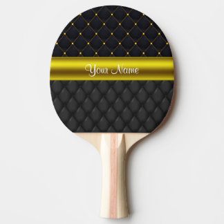 Sophisticated Quilted Black and Gold Ping Pong Paddle