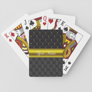Sophisticated Quilted Black and Gold Poker Deck