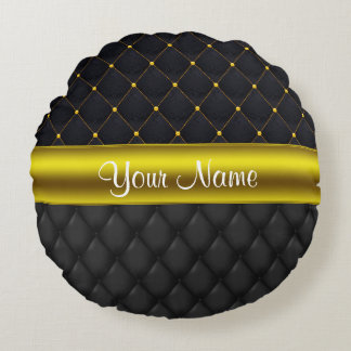 Sophisticated Quilted Black and Gold Round Pillow