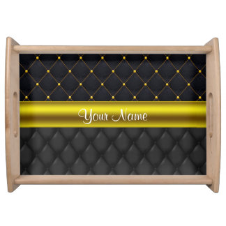 Sophisticated Quilted Black and Gold Serving Tray