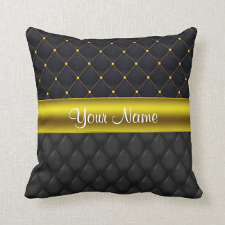 Sophisticated Quilted Black and Gold Throw Pillow