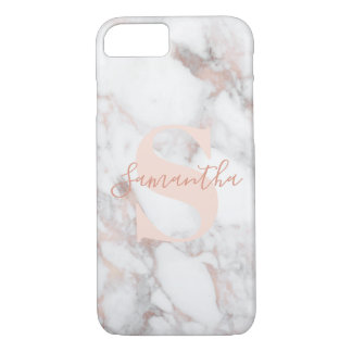 Sophisticated Rose Gold Marble with Monogram Name Case-Mate iPhone Case