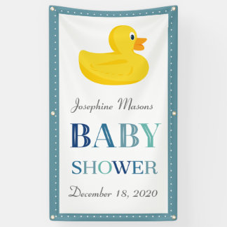 Sophisticated Rubber Duck Yellow Blue Baby Shower Banner