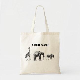 Sophisticated Safari, Giraffe, Elephant and Zebra Tote Bag