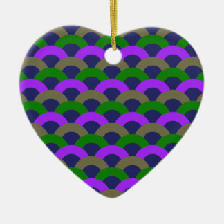 Sophisticated Seamless Pattern Ceramic Heart Ornament