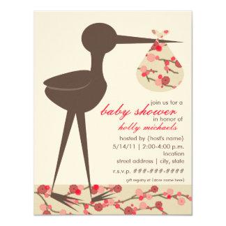 Sophisticated Stork Cherry Blossom Baby Shower Card