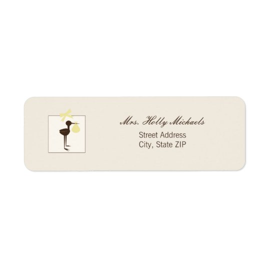 Sophisticated Stork Yellow & Brown Baby Shower