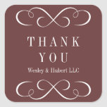 Sophisticated swirls dark brown thank you label