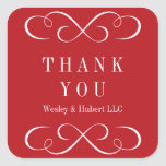 Sophisticated swirls holiday red thank you label square stickers