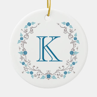 Sophisticated teal monogram ceramic ornament