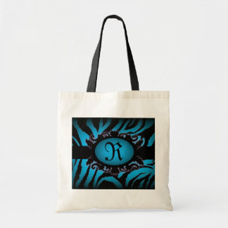 Sophisticated turquoise Zebra Print monogram Budget Tote Bag