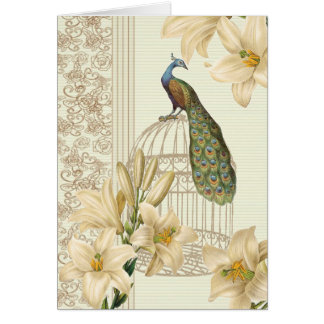 Sophisticated vintage lily birdcage Peacock Card