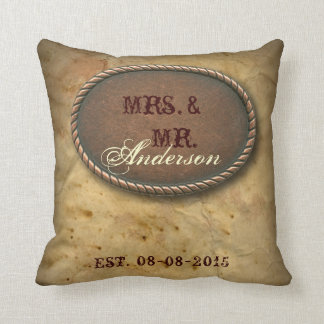 Sophisticated vintage western country wedding throw pillow