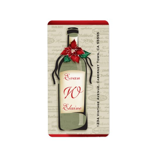 Sophisticated Wine Varietal Holiday Label