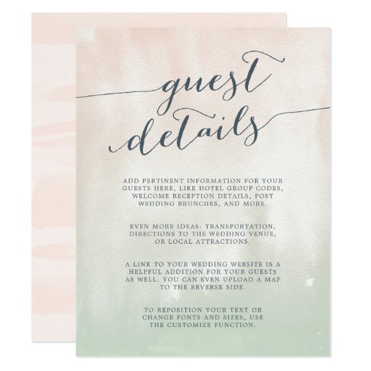 Sorbet | Watercolor Pastel Guest Details Card