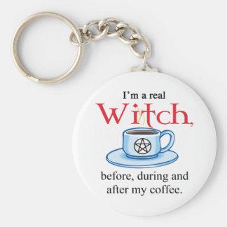 sorcière de café de porte - clé porte-clé rond