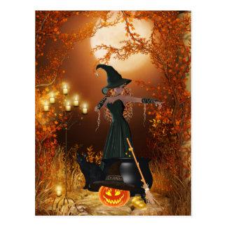 Sorcière de Halloween d'automne Carte Postale