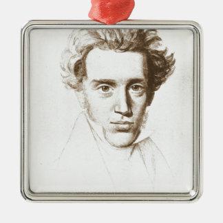 Søren Kierkegaard - Existentialist Philosopher Silver-Colored Square Ornament