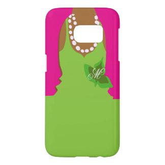 Sorority Life Pink Green Monogram Samsung Galaxy S7 Case