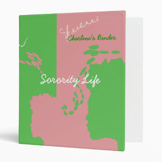 Sorority Pink and Green Binder