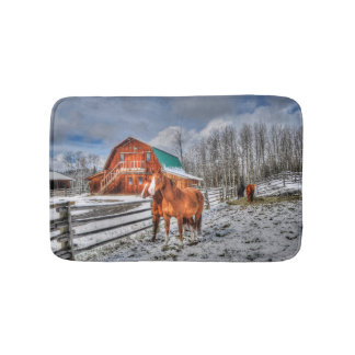 Sorrel and Chestnut Horses and Barn in Winter Snow Bath Mat