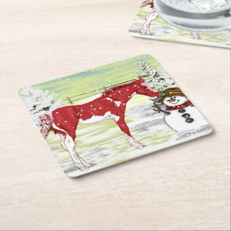 Sorrel Frame Overo Christmas Foal and Snowman Square Paper Coaster