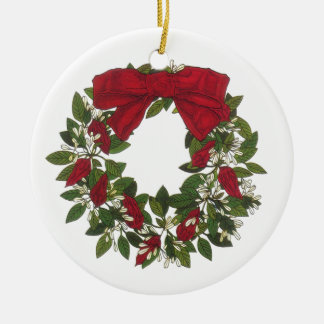 Sorrel /Poinsettia Wreath Ceramic Ornament