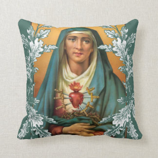 Sorrowful & Immaculate VIrgin Mary Throw Pillow