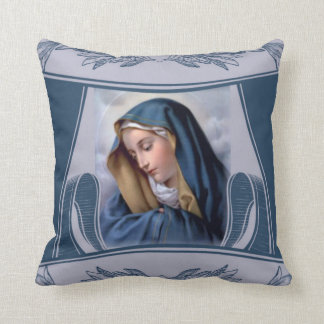 Sorrowful Mother Virgin Mary Blue Throw Pillow