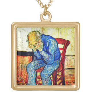 Sorrowing Old Man By Van Gogh Gold Plated Necklace