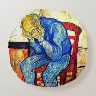 Sorrowing Old Man By Van Gogh Round Pillow