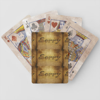 Sorry-229978 SORRY APOLOGY REGRET WOODEN SAYINGS C Bicycle Playing Cards