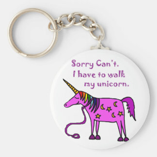 Sorry Can't.  I have to walk my unicorn cartoon. Basic Round Button Keychain