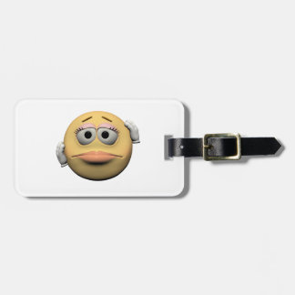 Sorry female emoticon luggage tag