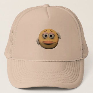 Sorry female emoticon trucker hat