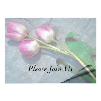 """Sorry For Your Loss Pink Tulips 5"""" X 7"""" Invitation Card"""