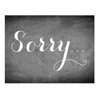 Sorry Handwriting Typography Black White Chalks Postcard