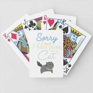 Sorry I Cant I Have Made Plans With My Cat Cute Bicycle Playing Cards